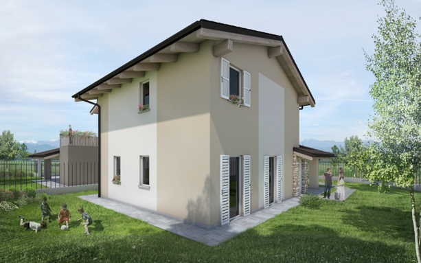 villa in bioedilizia barra&barra a san bernardo di cervasca - cuneo - retro