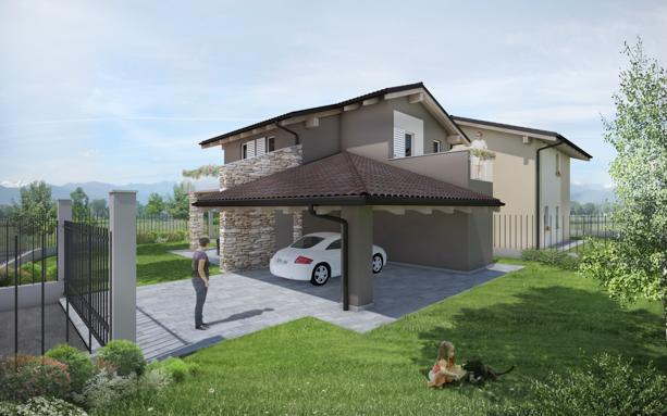 villa in bioedilizia barra&barra a san bernardo di cervasca - cuneo - giardino e tettoia